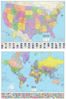 USA United States World Wall Maps Poster Murals
