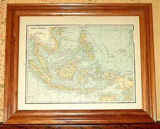 Indonesia Authentic Antique Map East Indies Genuine 123 Years Old Made