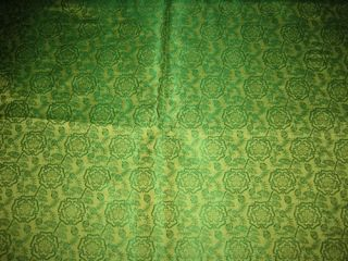 Pure Silk Brocade Fabric Green 44