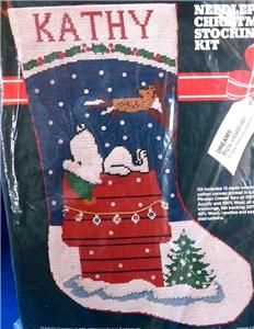 Vintage Malina Peanuts Snoopy Needlepoint Christmas Stocking Kit