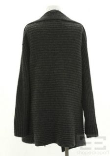 Grey Ribbed Cashmere Open Front Cardigan Size XL