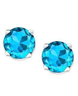 14k White Gold Earrings, Blue Topaz Round Stud (1 ct. t.w.)