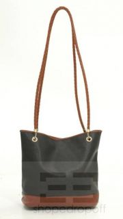 VENETA Black Brown Coated Canvas Braided Leather Marco Polo Bag