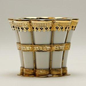 Fine Antique Royal Copenhagen Porcelain Cup w Gilt Sterling Mounts A