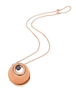 Breil Necklace, Rose Gold Tone Grey Natural Pearl Circle Pendant