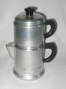 Vintage Aluminum 4 Cup Manual Drip Coffee Maker Press