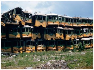 1950s Los Angeles Electric Rail Trolley Cars in Junk Yard Photo