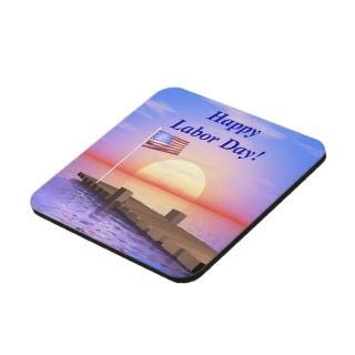 Happy Labor Day US Flag and Dock Beverage Coaster