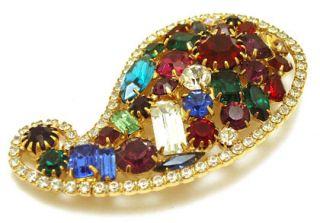 Vintage Large Marie Ferra Rhinestone Brooch Pin Jewelry