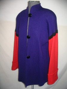 St John M L Marie Gray Purple Red LS Knit Tunic Jacket Top Excellent