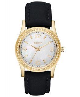 DKNY Watch, Womens Black Leather Strap 32mm NY8368