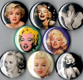 Marilyn Monroe 8 Pins Buttons Badges Photo New