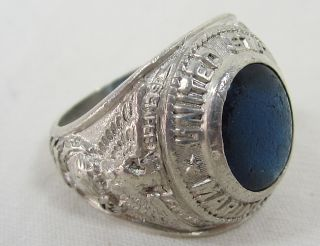 Sterling Silver Marine Corps Ring Size 8 with Blue Stone