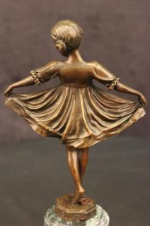 Art Deco Ballerina Girl Bronze Sculpture Statue Marble Base Ex Quality