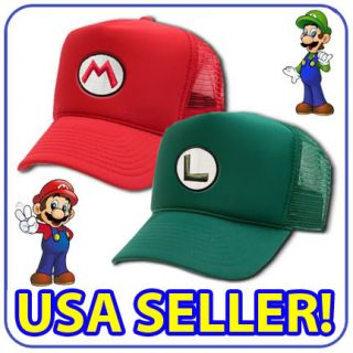 New Super Mario Luigi Costume Mesh Cap Cosplay Hat Twin