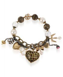Betsey Johnson Bracelet, Multi Tone Charm Half Stretch Leopard Heart
