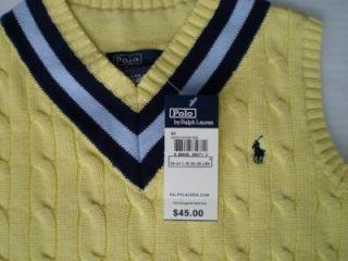 Ralph Lauren Yellow Sweater Vest Pony Cable Boys 4