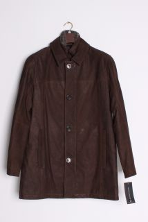 Andrew Marc Mens Destino Shearling Collar Brown Distressed Leather