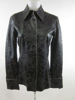 Marisa Minicucci Black Leather Button Down Jacket Sz 6