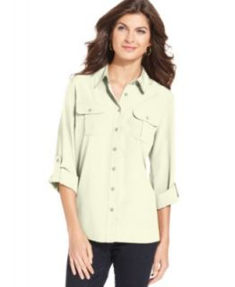 TWO by Vince Camuto Top, Long Sleeve Silk Blouse   Womens Tops