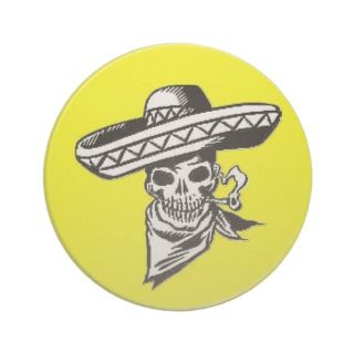 Viva Mexico skull with sombrero Drink Coaster