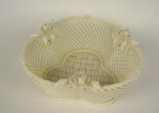 Irish Belleek Porcelain Four Strand Basket with Rose and Buds