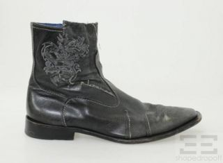 Mark Nason Mens Black Leather Dragon Engraved Ankle Boots Size 14