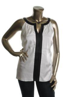Tahari New Marlee Ivory Satin Contrast Trim Sleeveless Blouse Tank Top