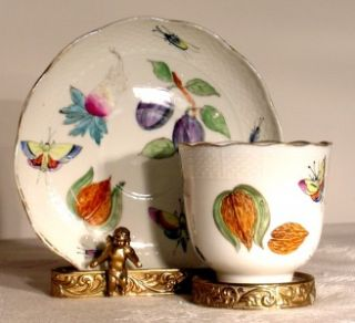 Antique Herend Hungary Porcelain Tea Cup and Saucer