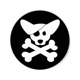 Corgi Skull & Crossbones Stickers