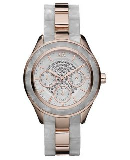 Armani Exchange Watch, Womens White Marbled Acetate and Rose Gold