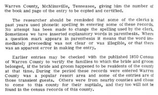 Marriage Records, Warren County, Tennessee 1852 1899