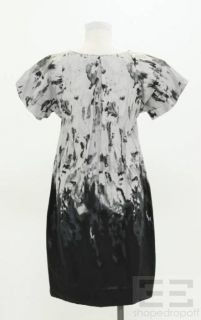 Marni Grey Black Ink Print Cotton Short Sleeve Dress