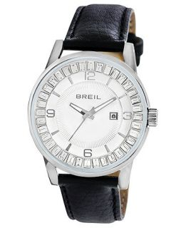 Breil Watch, Womens Black Leather Strap 41mm TW1153   All Watches