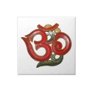 OM AUM red green white wooden  tile