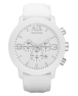 Armani Exchange Watch, Mens Chronograph White Silicone Strap 50mm