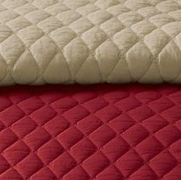 MARTHA STEWART KING QUILT SOLID DIAMOND STITCH 100% COTTON KAHAKI RED