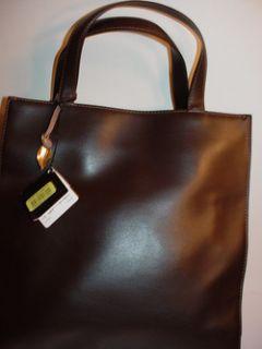New Auth Dana Buchman Dark Brown Leather Handbag Tote Bag Purse NWT $