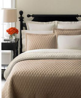 Martha Stewart Diamond Stitch Reversible Full Queen Quilt Khaki Cream