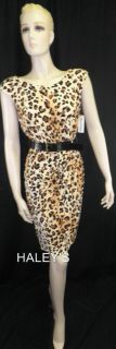 New Marvin Richards Leopard Print Brown Black Belted Dress Misses Size