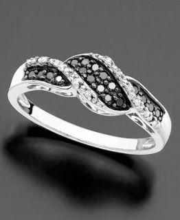 14k White Gold Ring, Black Diamond (1/5 ct. t.w.) and White Diamond