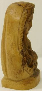 Antique Wood Carving of Virgin Mary w Arms Crossed Lathe Turned