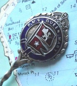 Old White Star Line RMS Queen Mary Enamel Pennant Spoon