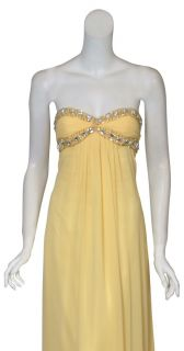 Mary L Couture Sunny Yellow Beaded Gown Dress 10 New