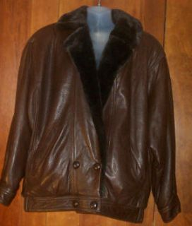 Marvin Richards Brown Leather w Faux Fur Lining Jacket