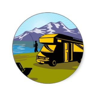 Fly fisherman fishing mountains camper van round sticker