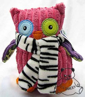 Opal Owl Pink Bird Mary Meyer Plush Toy Stuffed Animal Zebra Print