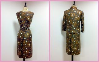 Vintage 1950s Couture Harvey Berin Silk Cocktail Dress and Matching