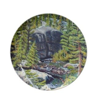 Cub Lake Hike Oil Landscape Painting Dinner Plate