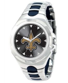 Game Time Watch, Mens New Orleans Saints Black Rubber and Stainless